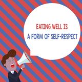 Word writing text Eating Well Is A Form Of Self Respect. Business concept for a quote of promoting healthy lifestyle. Word writing text Eating Well Is A Form Of vector illustration