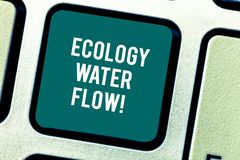 Word writing text Ecology Water Flow. Business concept for system for analysisaging quantity timing and quality of water. Keyboard key Intention to create royalty free stock photo
