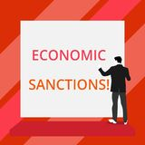 Word writing text Economic Sanctions. Business concept for Penalty Punishment levied on another country Trade war Back. Word writing text Economic Sanctions stock illustration
