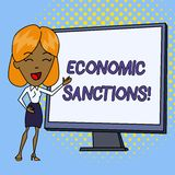 Word writing text Economic Sanctions. Business concept for Penalty Punishment levied on another country Trade war White. Word writing text Economic Sanctions stock illustration