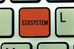Word writing text Ecosystem. Business concept for biological community of interacting organisms and environment Keyboard. Key Intention to create computer stock illustration