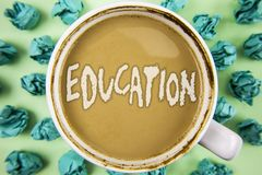 Word writing text Education. Business concept for Teaching of students by implementation of latest technology written on Tea in Wh. Word writing text Education Royalty Free Stock Photo