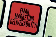 Word writing text Email Marketing Deliverability. Business concept for Ability to deliver emails to subscribers Keyboard key. Intention to create computer stock photography