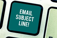 Word writing text Email Subject Line. Business concept for introduction that identifies email or message intent Keyboard stock image