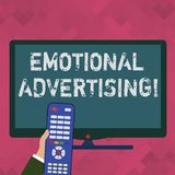 Word writing text Emotional Advertising. Business concept for persuasion method used to create emotional feedback Hand. Word writing text Emotional Advertising stock illustration