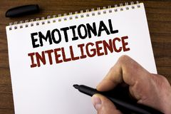Word writing text Emotional Intelligence. Business concept for Capacity to control and be aware of personal emotions written by Ma. N Notepad holding Marker the royalty free stock photography