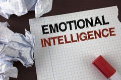 Word writing text Emotional Intelligence. Business concept for Capacity to control and be aware of personal emotions written on Te. Word writing text Emotional royalty free stock photography