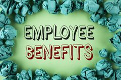 Word writing text Employee Benefits. Business concept for list of advantage recruiter get at work Insurance written on plain backg. Word writing text Employee Stock Photography