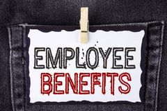 Word writing text Employee Benefits. Business concept for list of advantage recruiter get at work Insurance written on White Stick. Word writing text Employee Stock Image