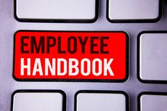 Word writing text Employee Handbook. Business concept for Document Manual Regulations Rules Guidebook Policy Code White Text two w. Ords red tab key button press stock images