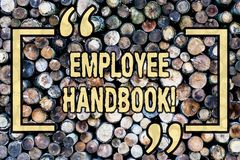 Word writing text Employee Handbook. Business concept for Document Manual Regulations Rules Guidebook Policy Code Wooden. Word writing text Employee Handbook stock images