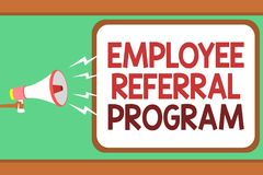 Word writing text Employee Referral Program. Business concept for employees recommend qualified friends relatives Man holding mega. Phone loudspeaker speech Royalty Free Stock Photography