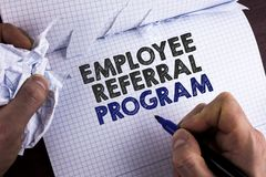 Word writing text Employee Referral Program. Business concept for Recommend right jobseeker share vacant job post written by Man o. Word writing text Employee royalty free stock photography