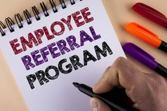Word writing text Employee Referral Program. Business concept for Recommend right jobseeker share vacant job post written by Man w. Ith Marker Notepad the plain stock photography