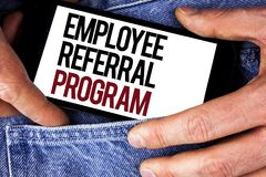 Word writing text Employee Referral Program. Business concept for Recommend right jobseeker share vacant job post written on Mobil. Word writing text Employee stock photography