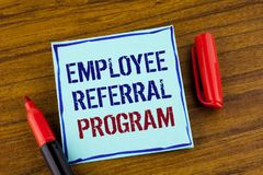 Word writing text Employee Referral Program. Business concept for Recommend right jobseeker share vacant job post written on Stick. Word writing text Employee stock images