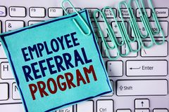 Word writing text Employee Referral Program. Business concept for strategy work encourage employers through prizes written on Stic. Word writing text Employee stock photography