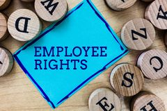 Word writing text Employee Rights. Business concept for All employees have basic rights in their own workplace.  stock photos