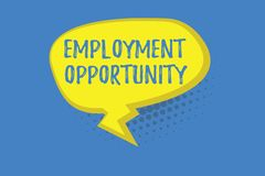 Word writing text Employment Opportunity. Business concept for no Discrimination against Applicant Equal Policy.  stock illustration