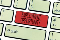 Word writing text Employment Opportunity. Business concept for no Discrimination against Applicant Equal Policy royalty free stock image