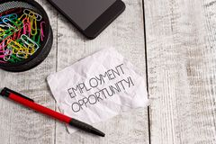Word writing text Employment Opportunity. Business concept for no Discrimination against Applicant Equal Policy Wrinkle royalty free stock photography