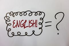 Word writing text English Motivational Call. Business concept for Relating to England its People or their Language Ideas messages. Doodle white background equal Royalty Free Stock Images