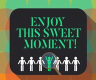 Word writing text Enjoy This Sweet Moment. Business concept for encouraging someone to love his life timeline Magnifying Glass. Over Chosen Man Figure Among the stock illustration