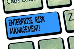 Word writing text Enterprise Risk Management. Business concept for analysisage risks and seize business opportunities. Keyboard key Intention to create computer royalty free stock photo