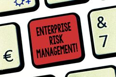 Word writing text Enterprise Risk Management. Business concept for analysisage risks and seize business opportunities. Keyboard key Intention to create computer royalty free stock photography
