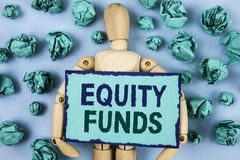 Word writing text Equity Funds. Business concept for Investors enjoys great benefits with long term investment written on Sticky n. Word writing text Equity Royalty Free Stock Photos