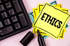 Word writing text Ethics. Business concept for Maintaining equality balance among others having moral principles written on Sticky. Word writing text Ethics Royalty Free Stock Photo