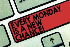 Word writing text Every Monday Is A New Chance. Business concept for Start your week with positivism Motivation Keyboard royalty free stock photo