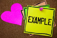 Word writing text Example. Business concept for Illustration Sample Model to follow Guide Explanation For instance Cork background. Paper ideas messages pink Royalty Free Stock Photo