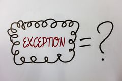 Word writing text Exception. Business concept for Person or thing that is excluded from general statement Different Ideas messages. Doodle white background Royalty Free Stock Images