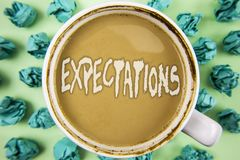 Word writing text Expectations. Business concept for Huge sales in equity market assumptions by an expert analyst written on Tea i. Word writing text royalty free stock photos