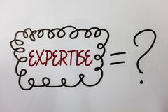 Word writing text Expertise. Business concept for Expert skill or knowledge in a particular field Experience Wisdom Ideas messages. Doodle white background Stock Images