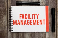 Word writing text Facility Management. Business concept for Multiple Function Discipline Environmental Maintenance royalty free stock images