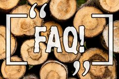 Word writing text Faq. Business concept for Frequently asked question for clearing up confusions Wooden background vintage wood. Wild message ideas intentions royalty free stock images