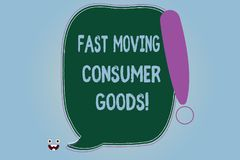 Word writing text Fast Moving Consumer Goods. Business concept for High volume of purchases Consumerism retail Blank Color Speech. Bubble Outlined with royalty free illustration