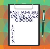 Word writing text Fast Moving Consumer Goods. Business concept for High volume of purchases Consumerism retail Blank Sheet of Bond. Paper on Clipboard with vector illustration