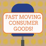 Word writing text Fast Moving Consumer Goods. Business concept for High volume of purchases Consumerism retail Blank. Rectangular Shape Sticker Sitting vector illustration