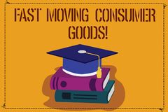 Word writing text Fast Moving Consumer Goods. Business concept for High volume of purchases Consumerism retail Color. Graduation Hat with Tassel 3D Academic cap royalty free illustration