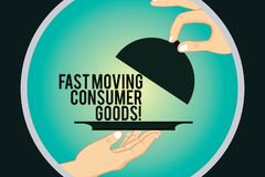 Word writing text Fast Moving Consumer Goods. Business concept for High volume of purchases Consumerism retail Hu. Analysis Hands Serving Tray Platter and vector illustration