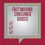 Word writing text Fast Moving Consumer Goods. Business concept for High volume of purchases Consumerism retail Square. Speech Bubbles Inside Another with Broken vector illustration