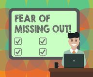 Word writing text Fear Of Missing Out. Business concept for Afraid of losing something or someone stressed Blank. Bordered Board behind Man Sitting Smiling with vector illustration