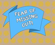 Word writing text Fear Of Missing Out. Business concept for Afraid of losing something or someone stressed Folded 3D. Ribbon Strip Solid Color Blank Sash photo royalty free illustration