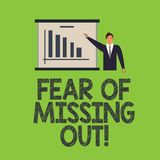 Word writing text Fear Of Missing Out. Business concept for Afraid of losing something or someone stressed Man in. Business Suit Standing Pointing a Board with stock illustration