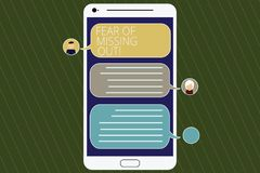 Word writing text Fear Of Missing Out. Business concept for Afraid of losing something or someone stressed Mobile. Messenger Screen with Chat Heads and Blank stock illustration