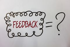 Word writing text Feedback. Business concept for Customer Review Opinion Reaction Evaluation Give a response back Ideas messages d. Oodle white background equal Royalty Free Stock Photography