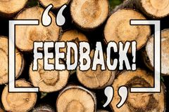 Word writing text Feedback. Business concept for Rating an economical local grocery store Wooden background vintage wood wild. Message ideas intentions thoughts royalty free stock photos